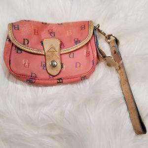 Dooney & Bourke pink logo DB wristlet wallet clutc